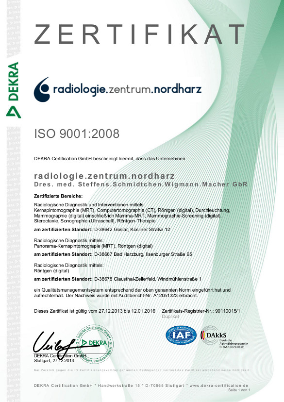 ISO 9001:2008 Zertifikat